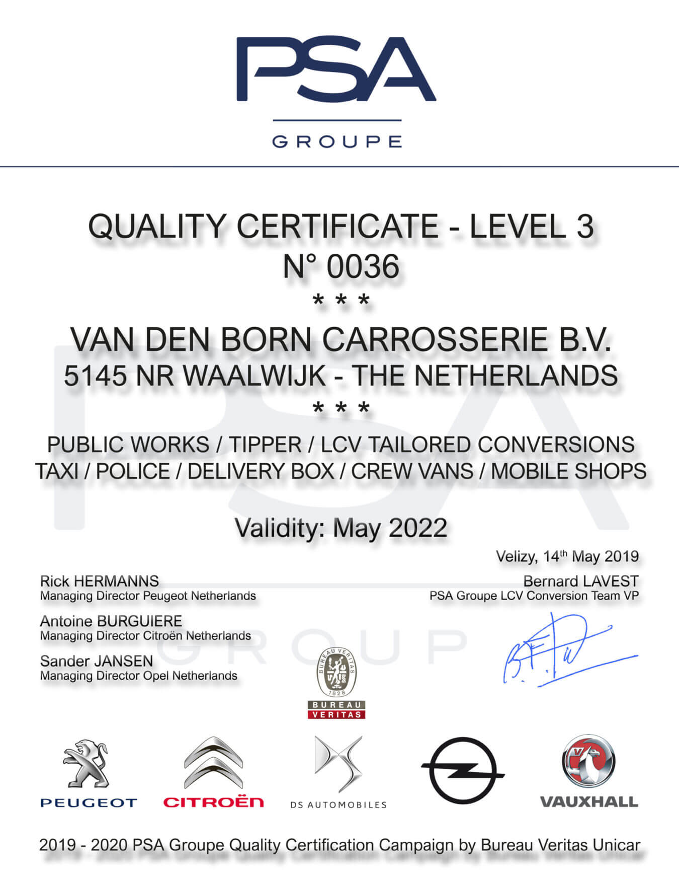 psa groupe conversion certificate
